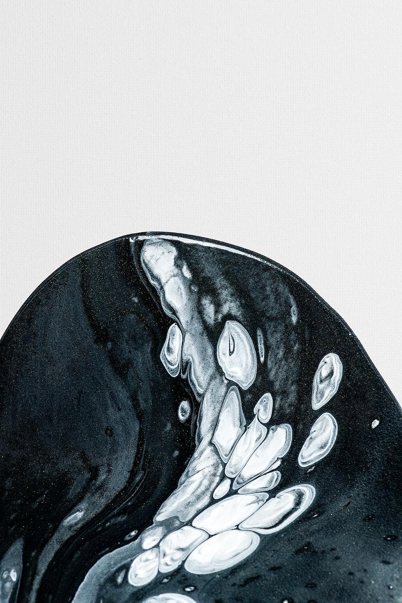 Black fluid art swirl psd acrylic paint element