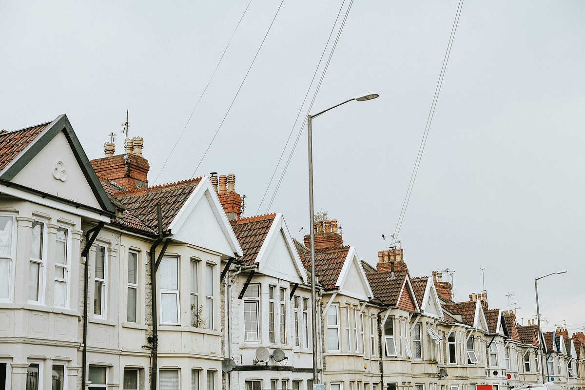 Row of houses in a suburban area