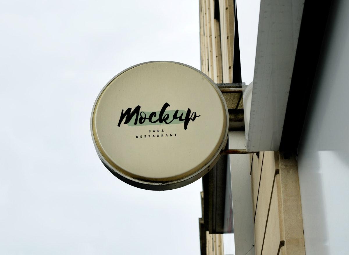 Close up of a shop sign mock up