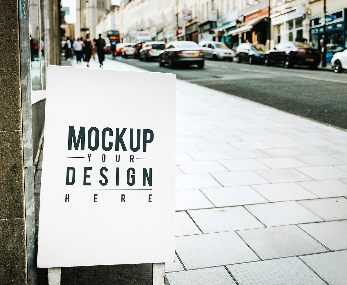 Mockup poster on the outside of a shop