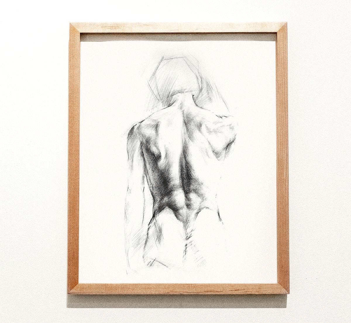 Framed sketch of a man's back