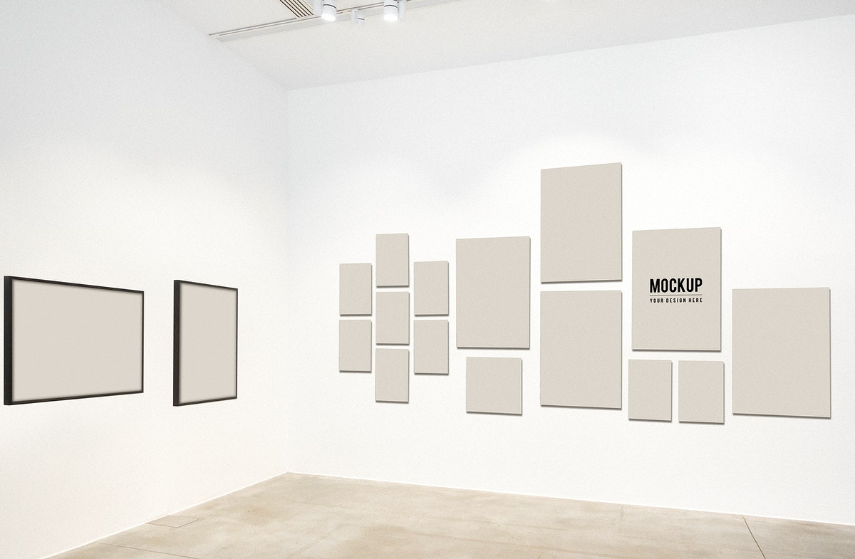 Mockup frames hanged in a gallery