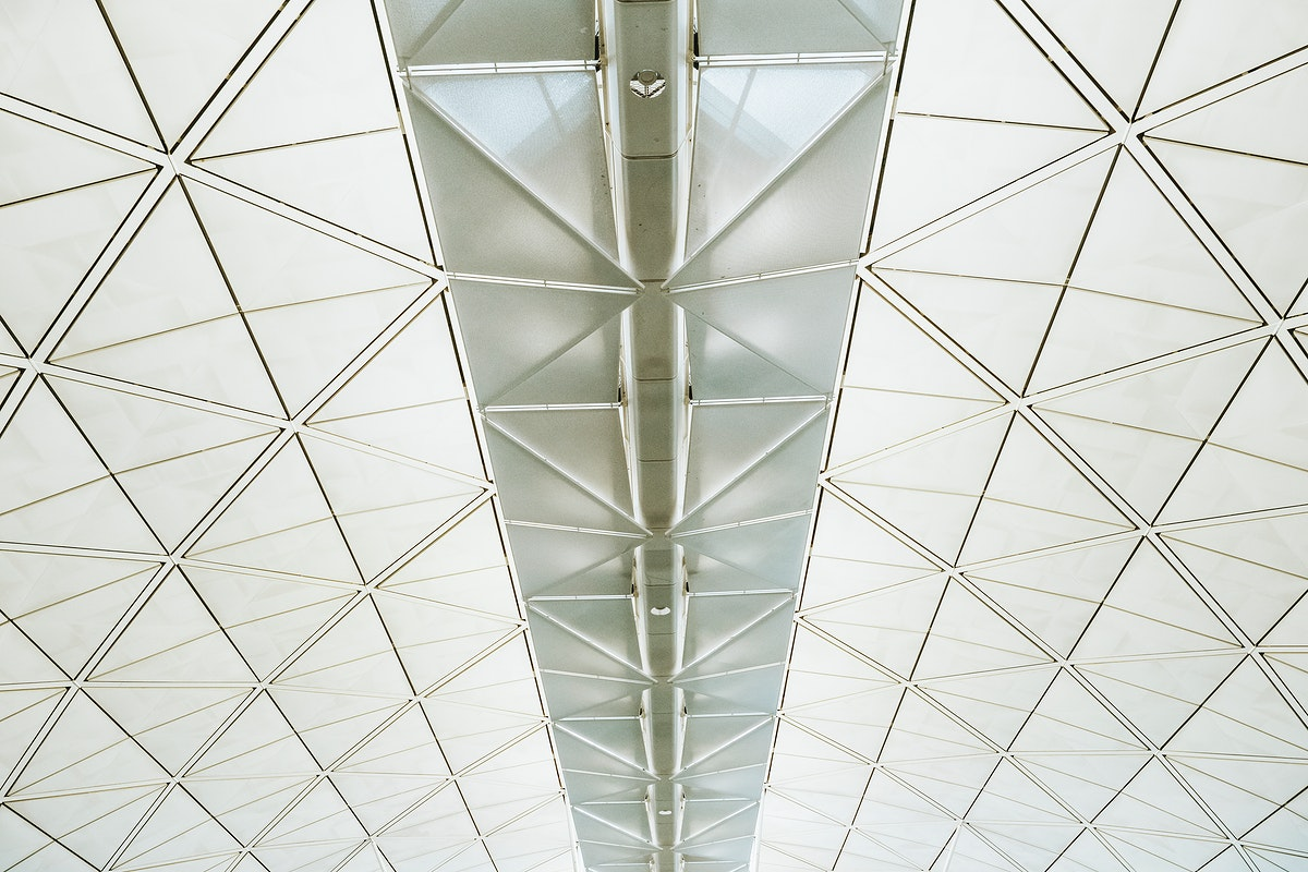 Interior design of the airport roof