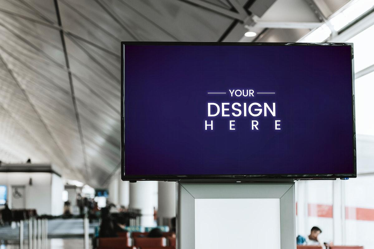 Digital announcement board mockup in a passenger terminal