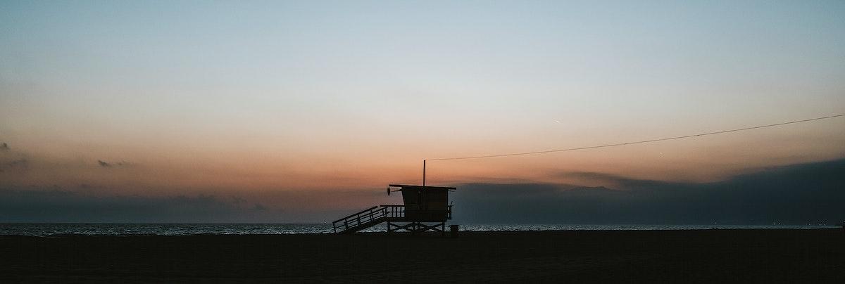 Lifeguard house on a Venice beach in California, USA