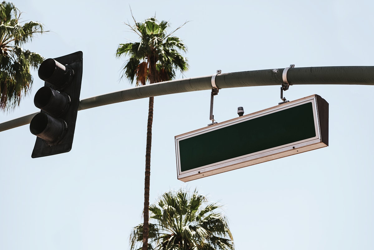 Traffic light and street sign