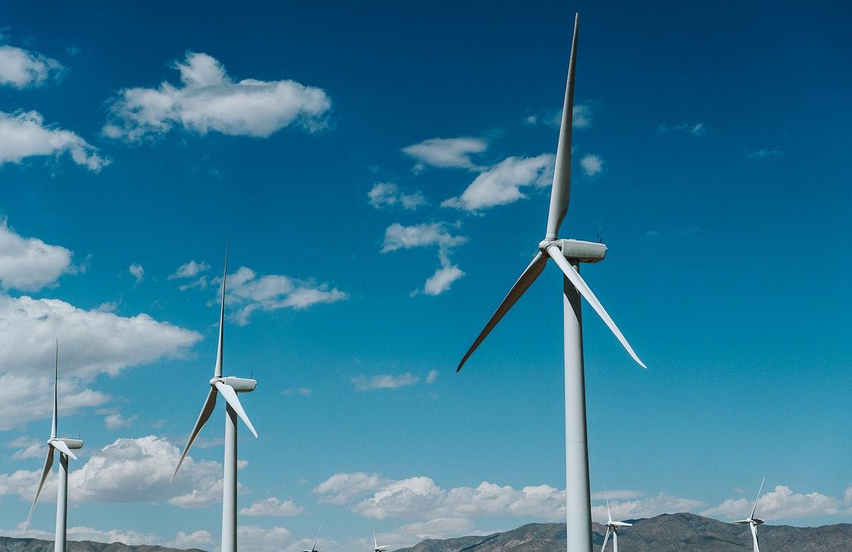 Wind turbine with a blue sky