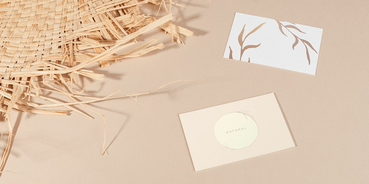 Business cards with woven mat mockup