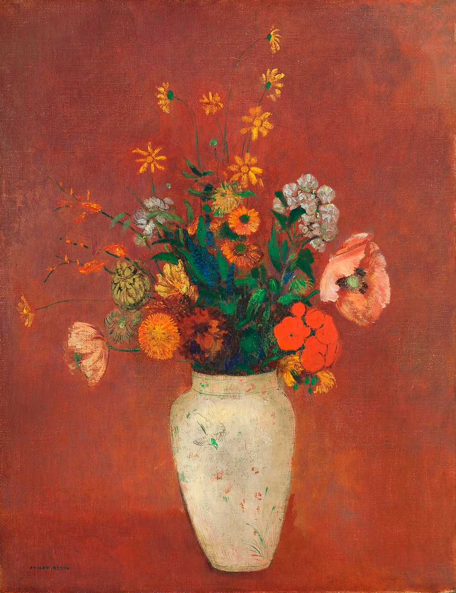 Bouquet in a Chinese Vase (1912—1914) by Odilon Redon. Original from The MET museum. Digitally enhanced by rawpixel.