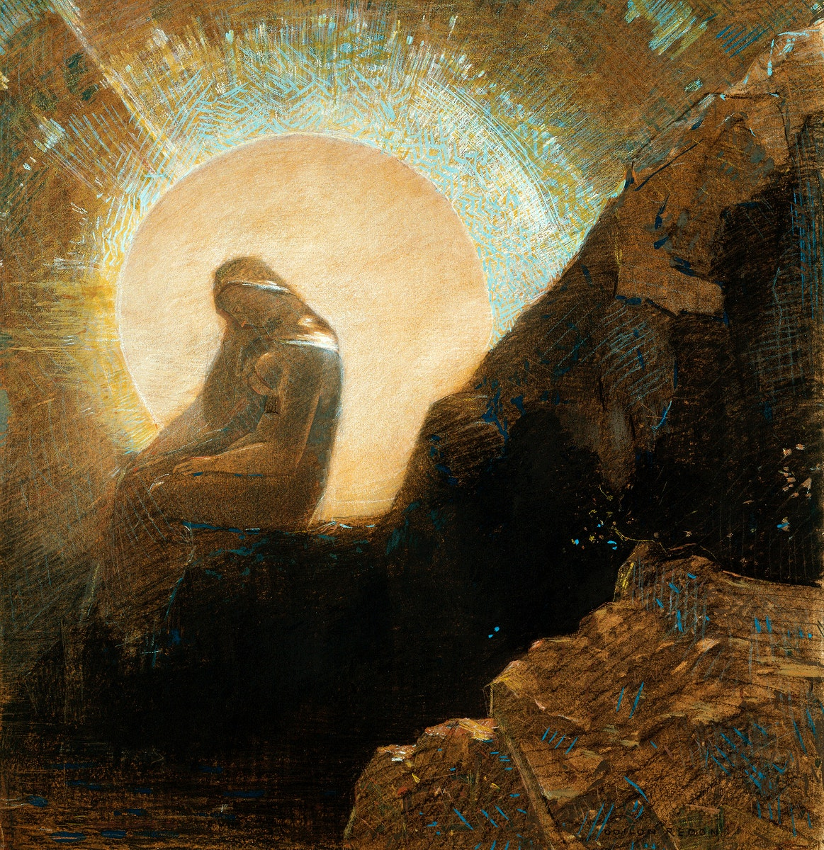 Melancholy (1876) by Odilon Redon. Original from the Art Institute of Chicago. Digitally enhanced by rawpixel.