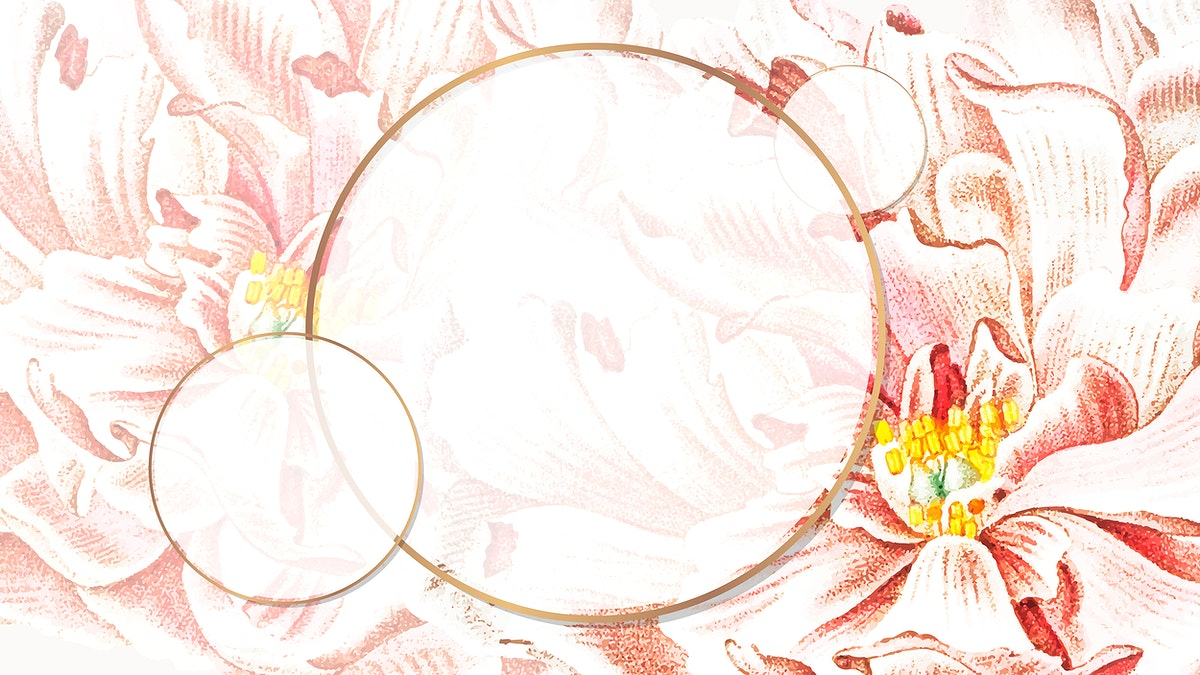 Round floral peony frame wallpaper vector