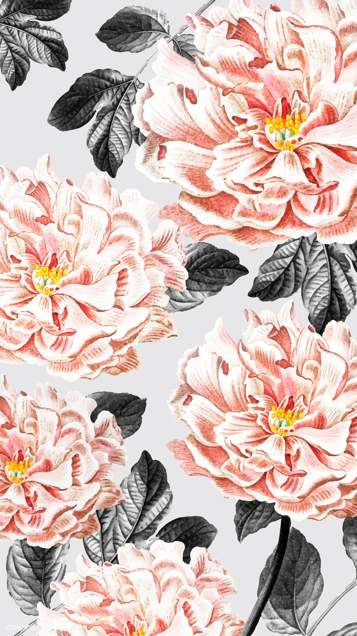 Elegant Floral Illustration Mobile Wallpaper Royalty Free Vector