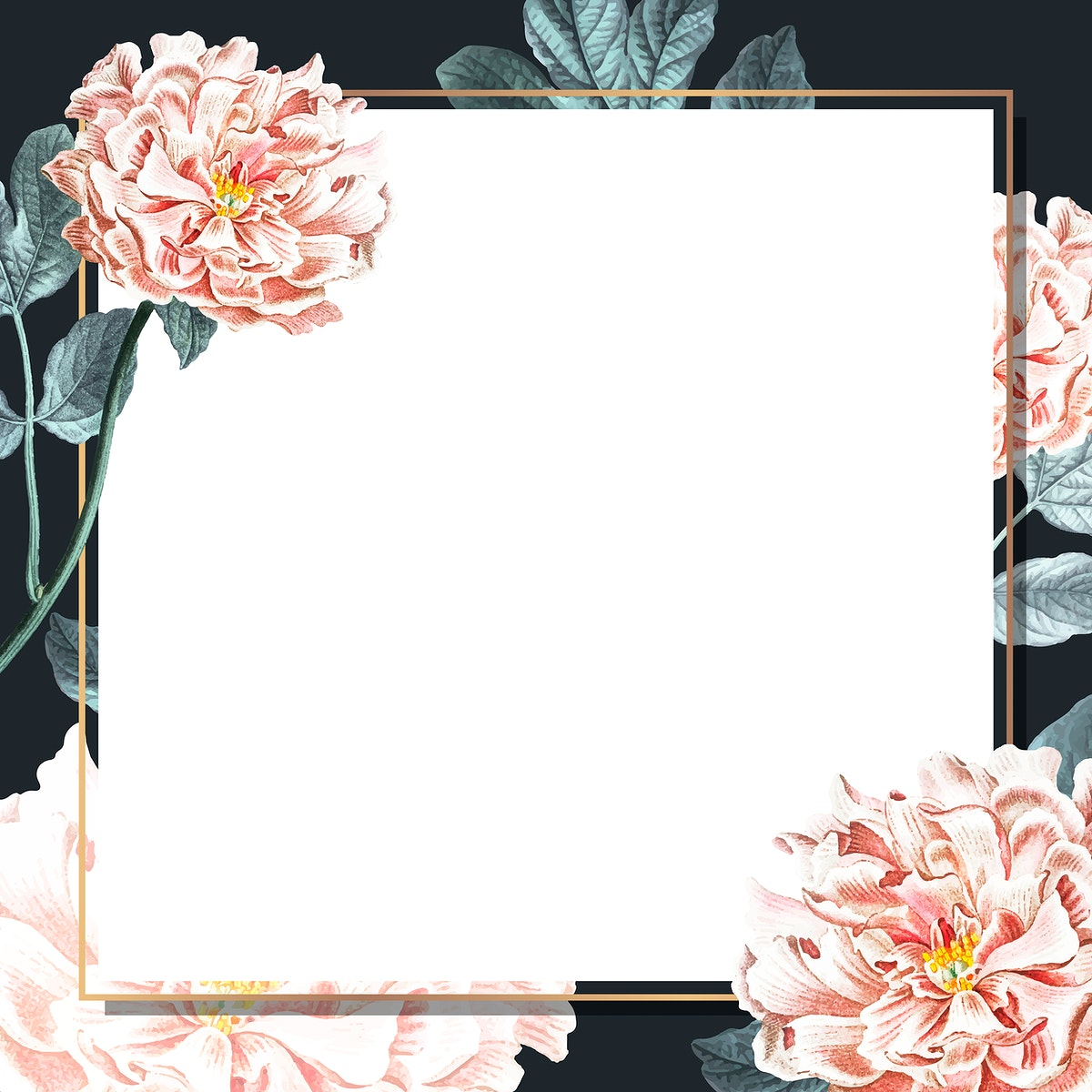 Golden peony frame social ads template vector