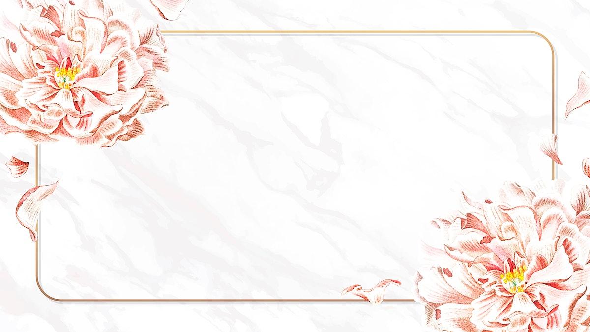 Golden floral peony frame wallpaper vector