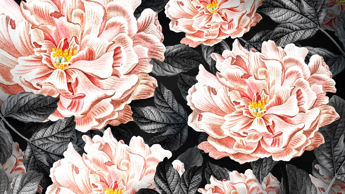 Floral blooming peony wallpaper vector