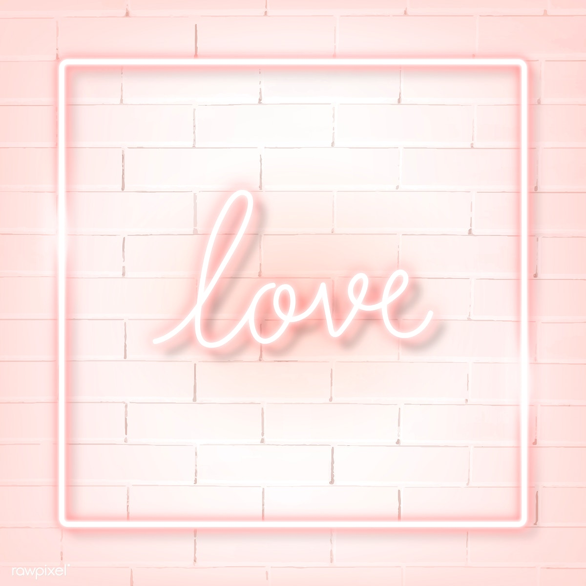 Download premium vector of Square pink neon frame on a white brick wall