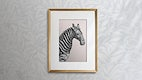 Wooden picture frame hanging on a patterned wall illustration