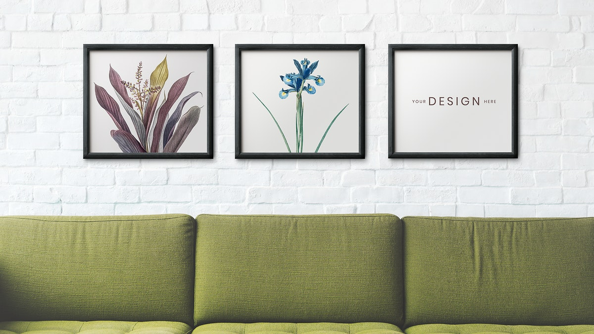 Picture frames hanging on a white brick wall illustration