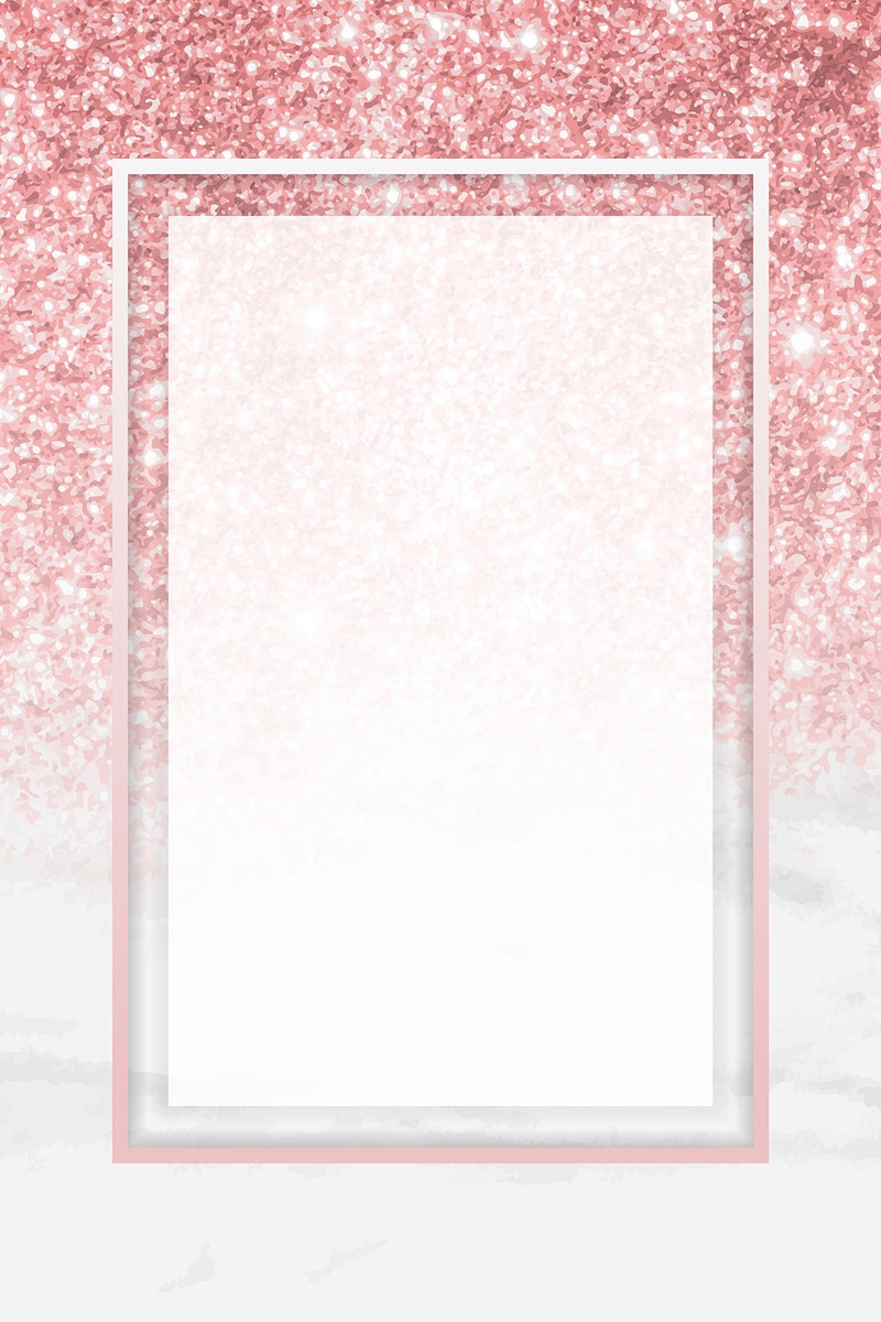 Pink gold rectangle frame on glittery background vector