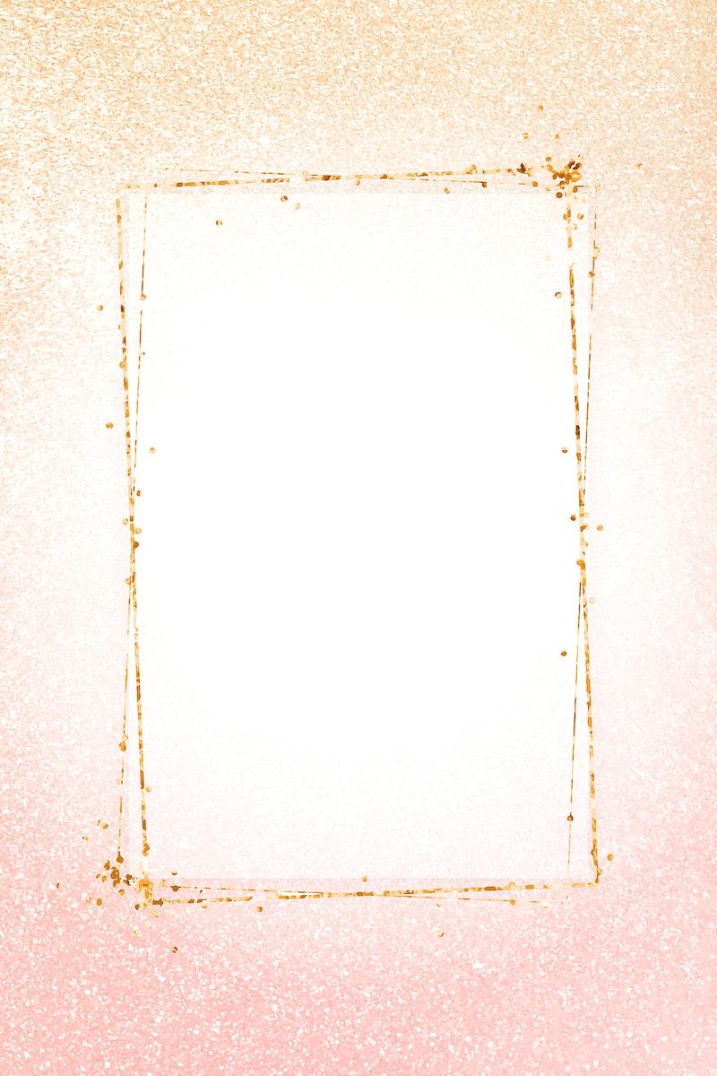 Gold glittery rectangle frame vector