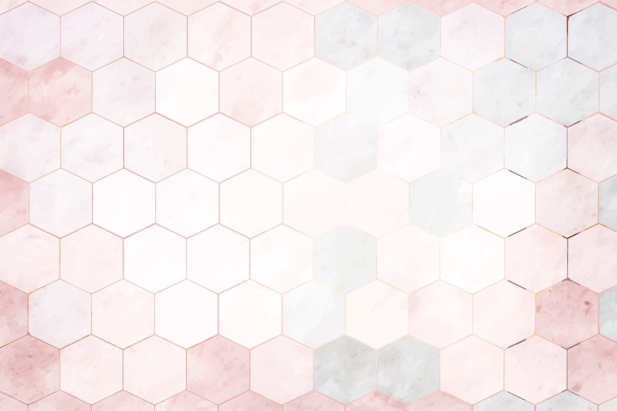Hexagon pink marble tiles patterned background vector