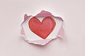 Torn paper mockup with a heart
