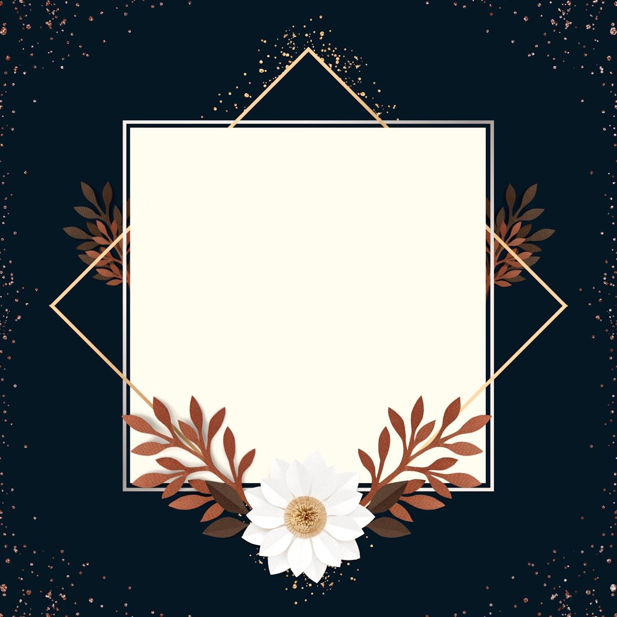 Square paper craft flower frame template illustration
