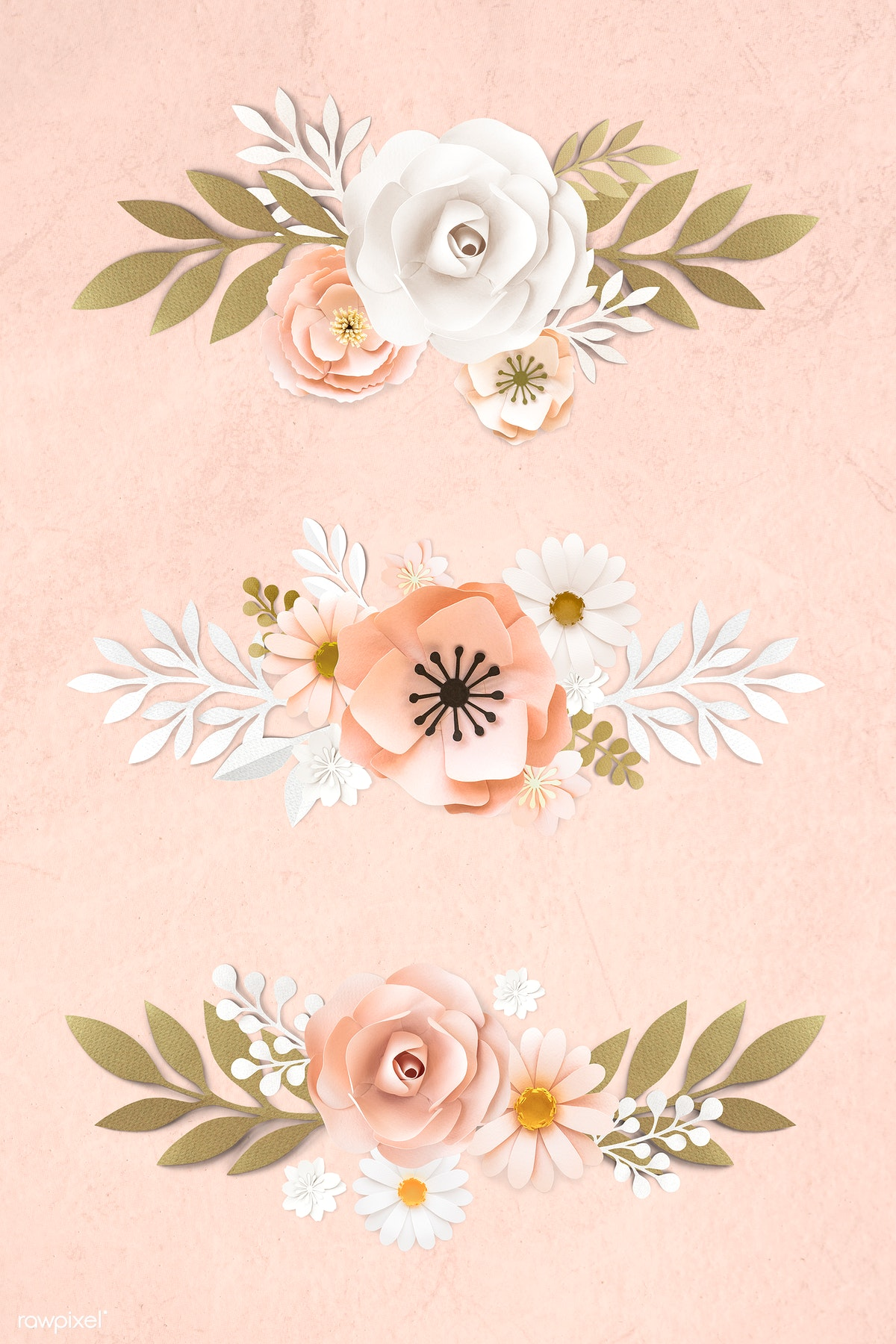 Download Premium Psd Of Pink And White Paper Craft Flower Banner