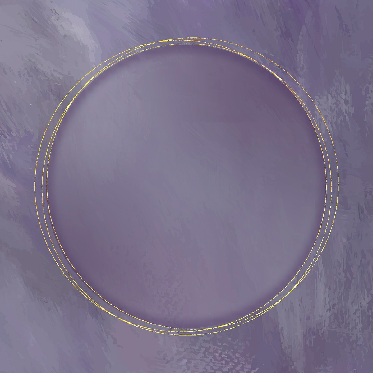 Round gold frame on purple background vector