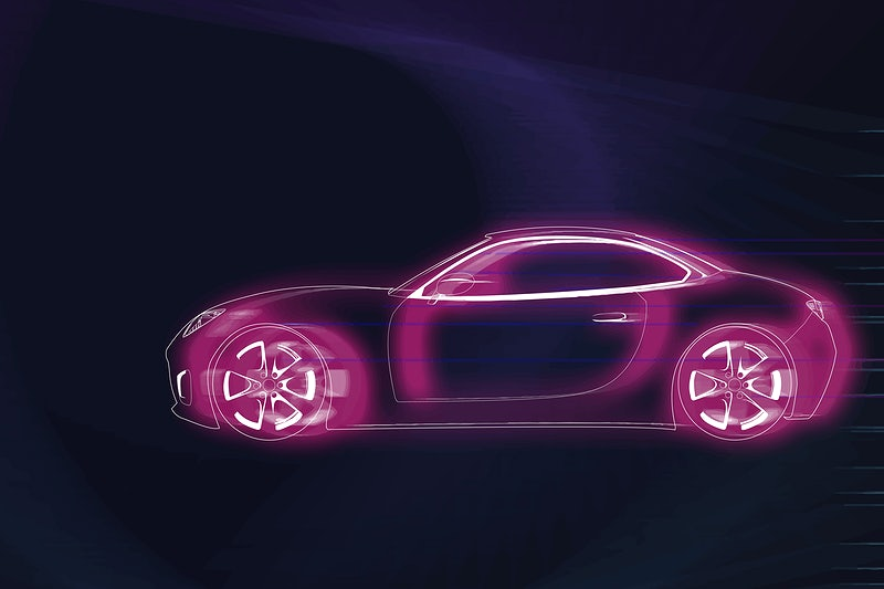 Pink neon sports car design vector