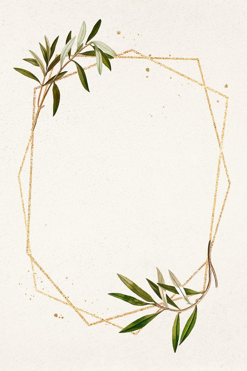 Hexagon gold frame olive branch pattern illustration