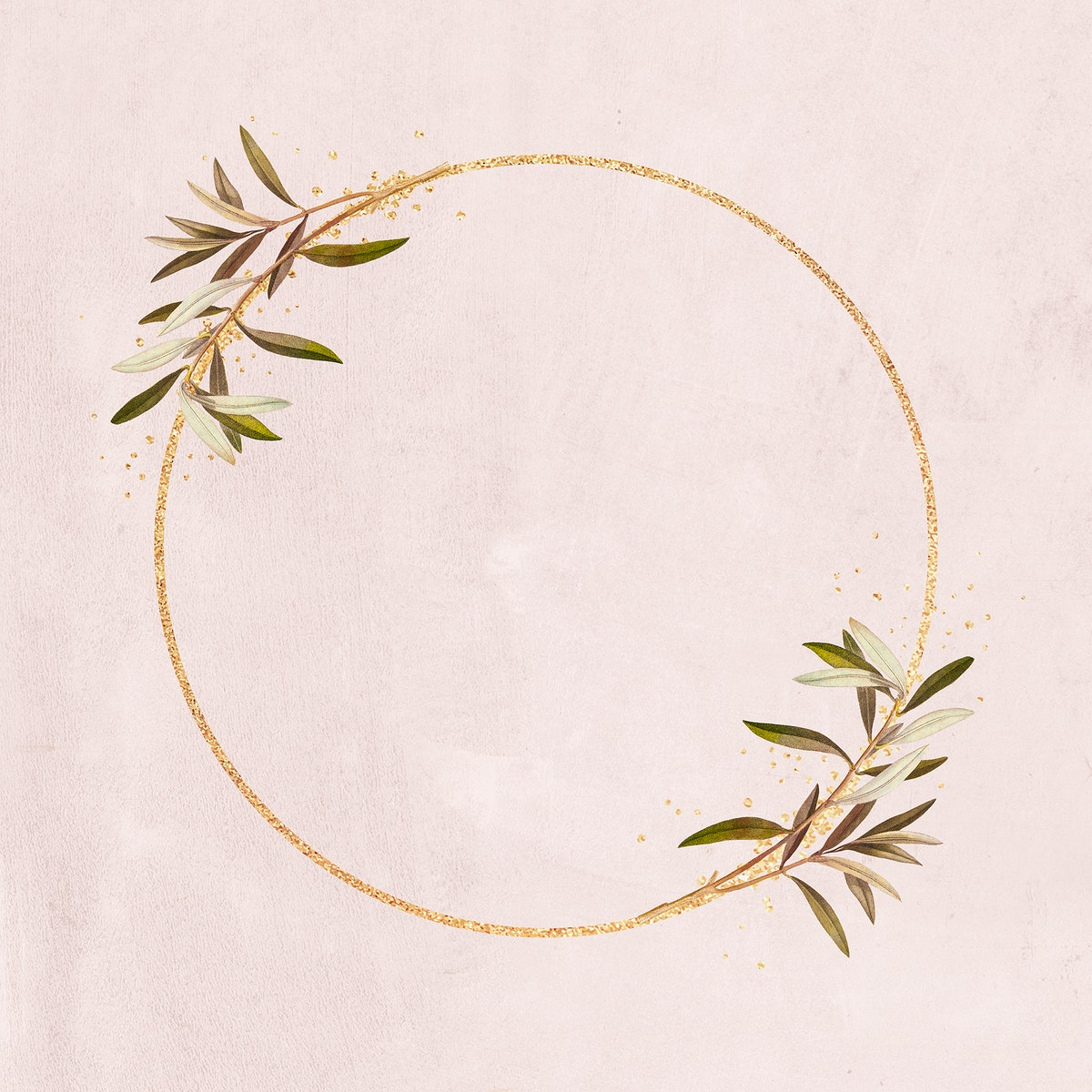Round gold frame with olive branches illustration