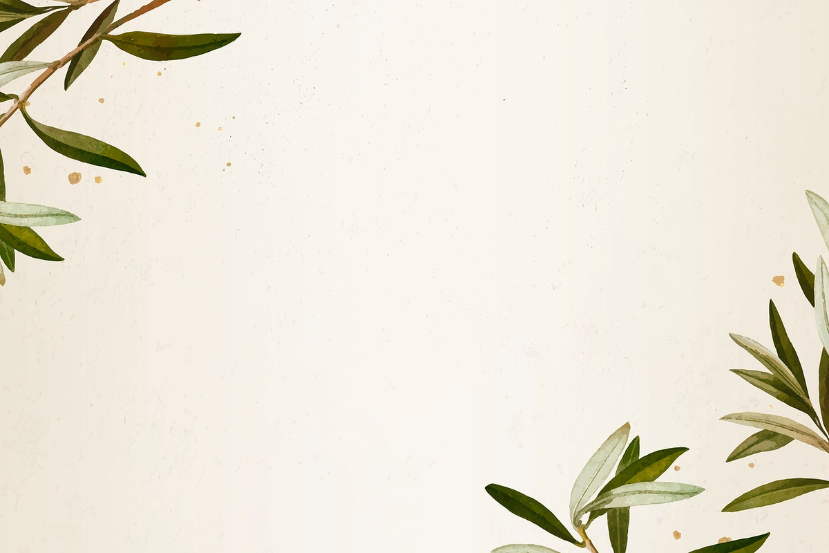 Olive branch pattern on a beige background template vector