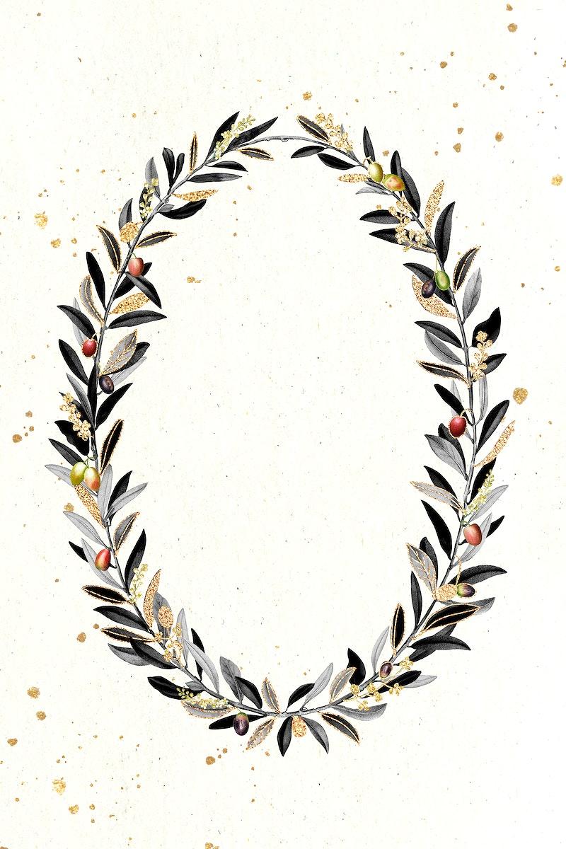 Olive wreath design element illustration