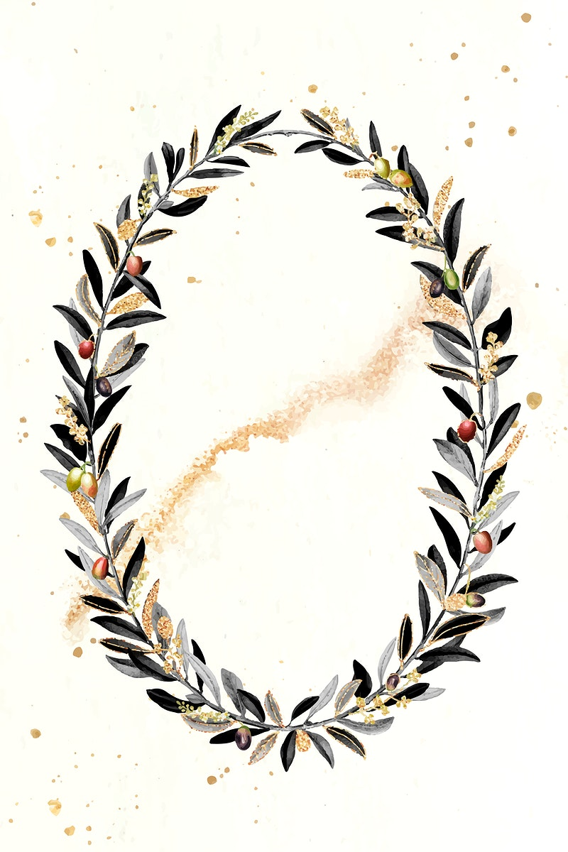 Olive wreath design element vector