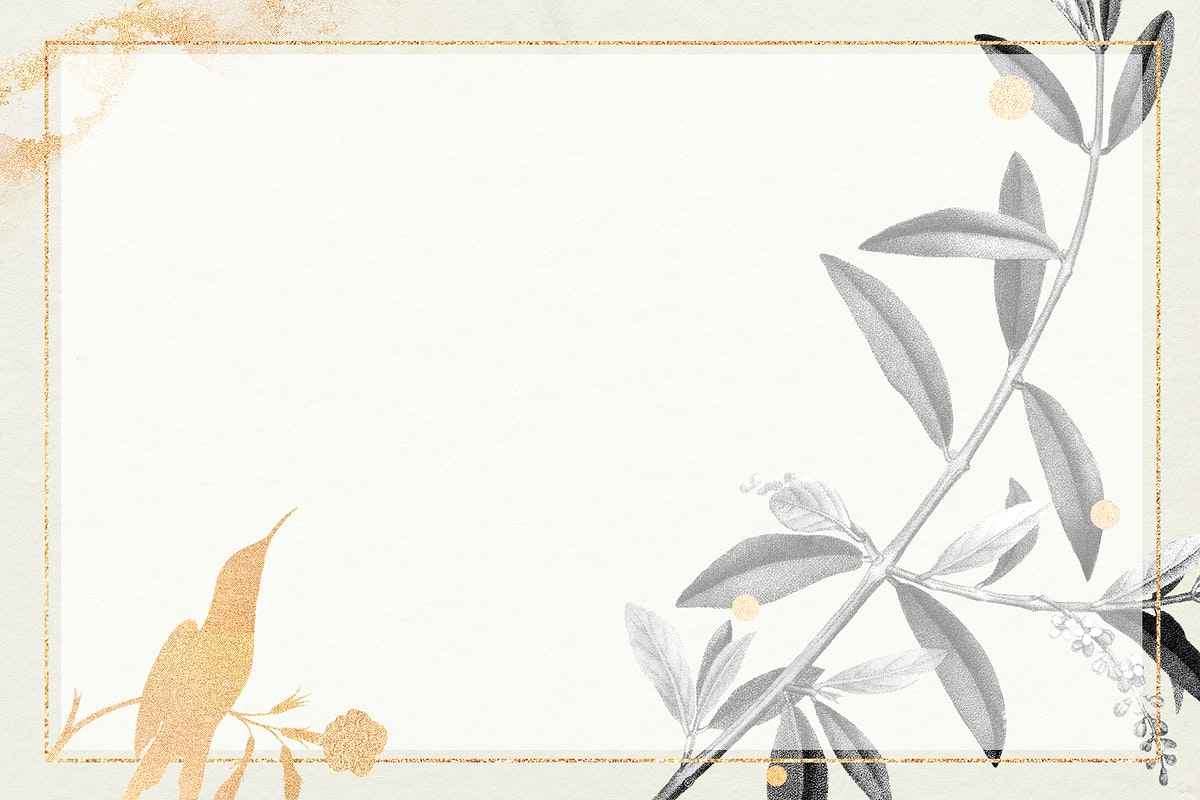 Rectangle gold frame with olive branch pattern illustration