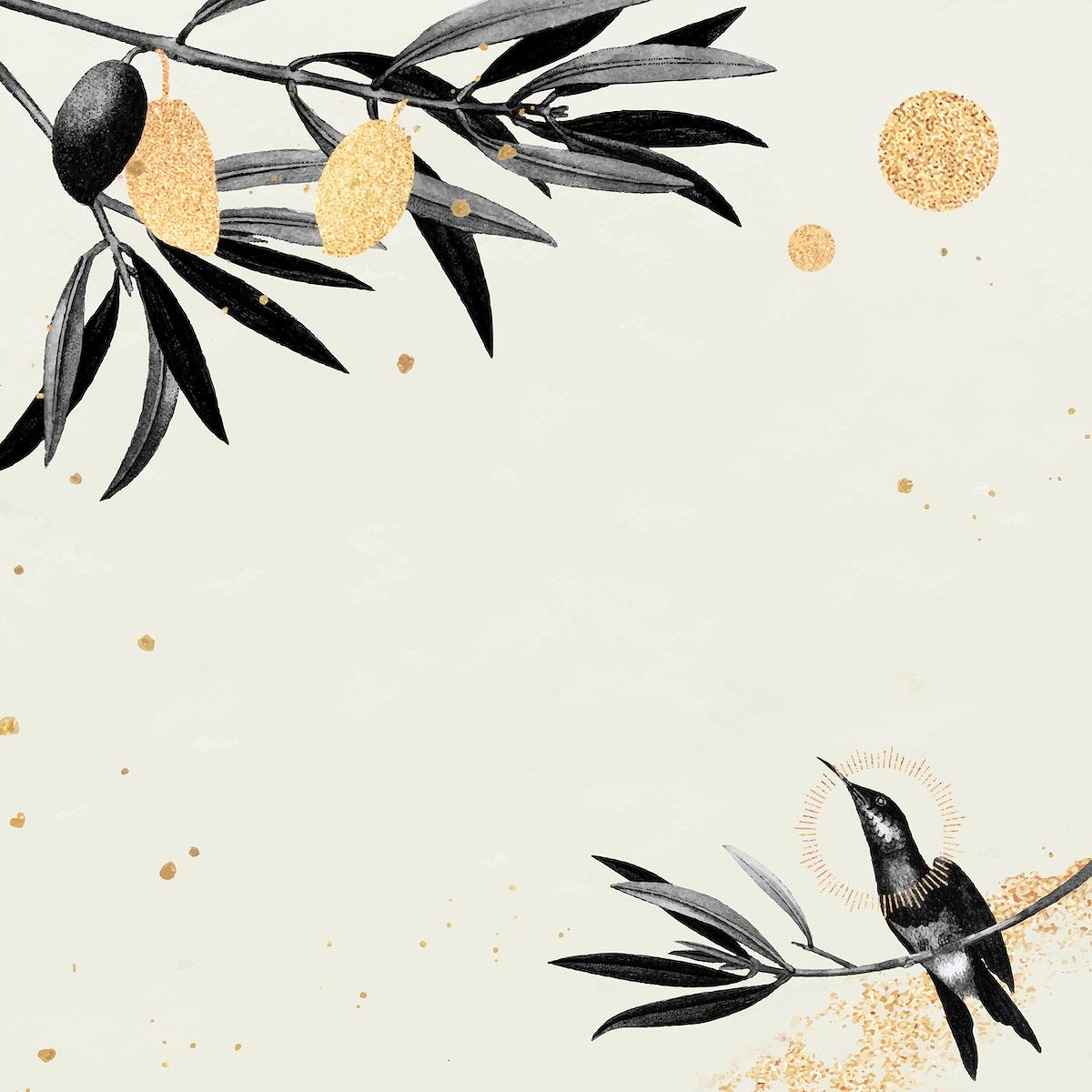 Hummingbird pattern on a beige background vector