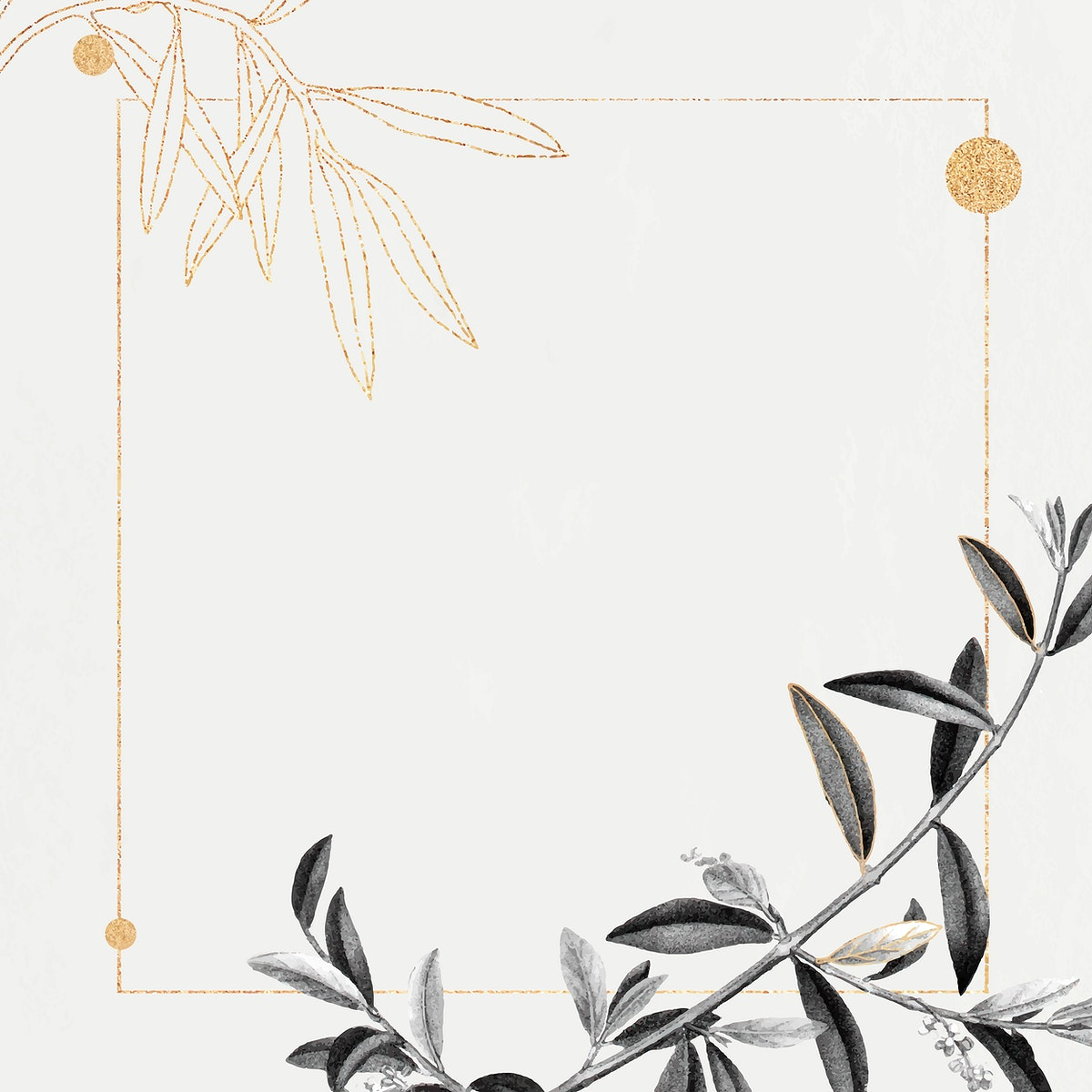 Rectangle gold frame with olive branch pattern vector