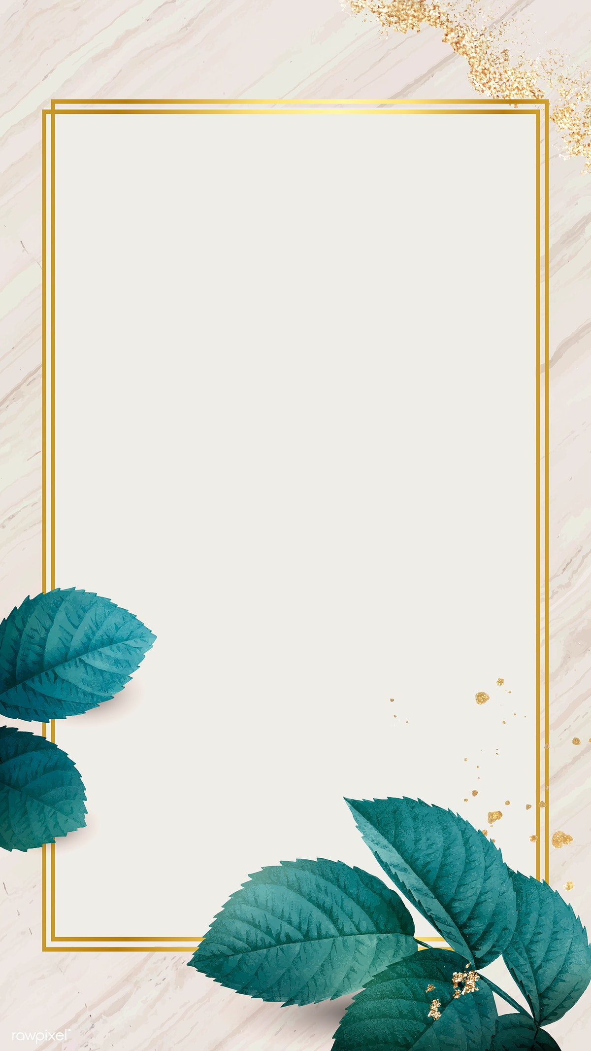 Download premium illustration of Gold frame with foliage pattern mobile
