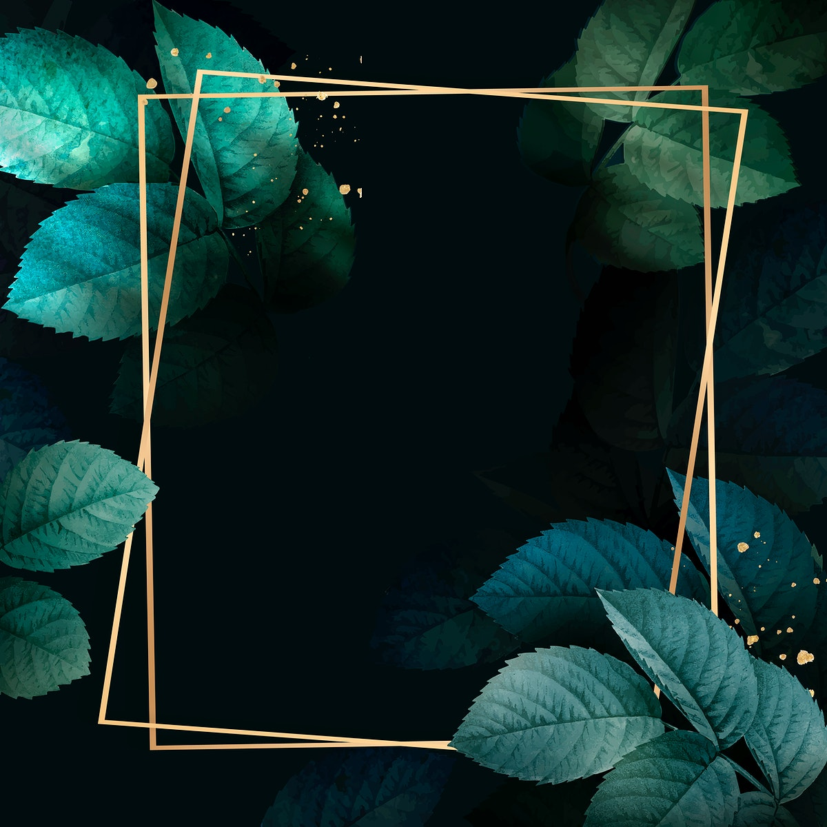 Square gold frame with foliage pattern background vector