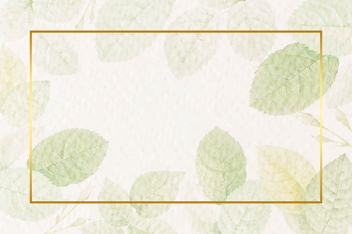 Rectangle gold frame with foliage pattern background vector