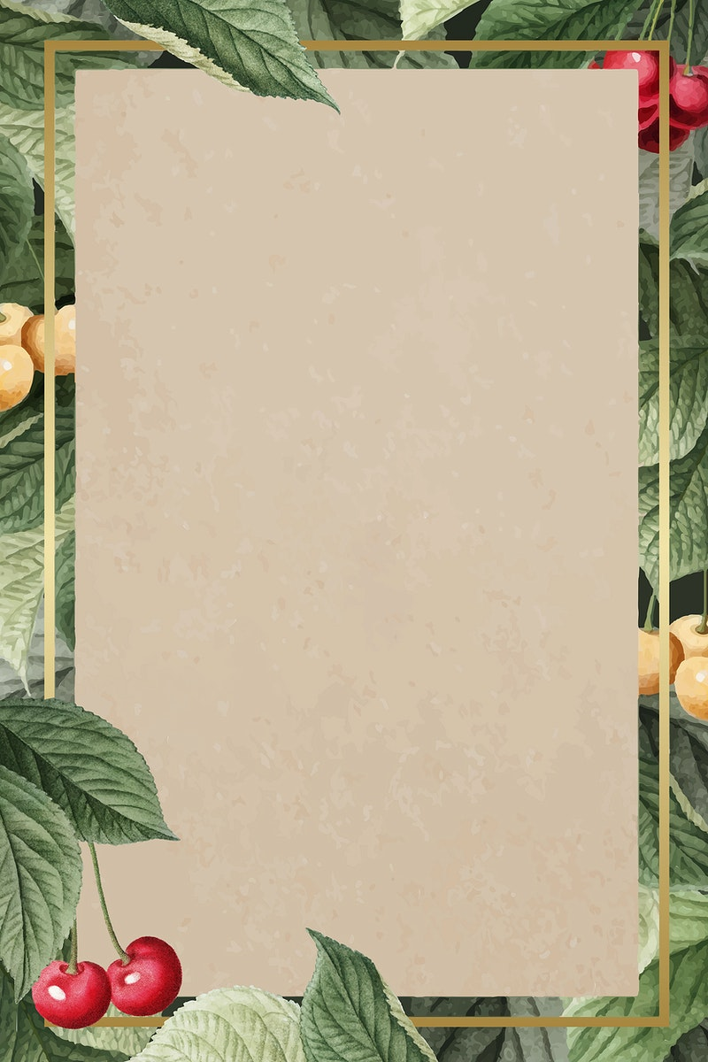 Hand drawn cherry pattern with rectangle gold frame vector
