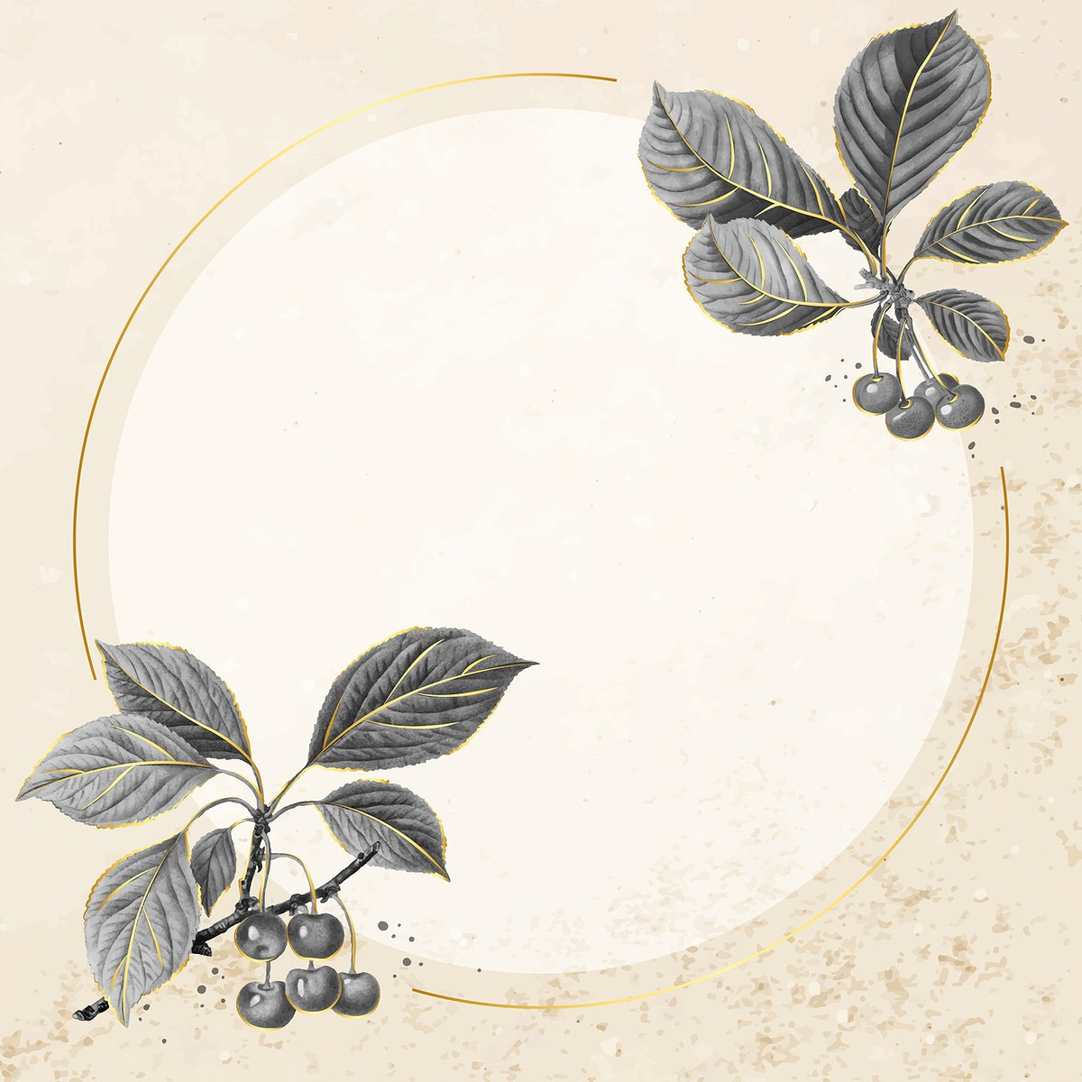 Hand drawn cherry pattern with round  gold frame vector