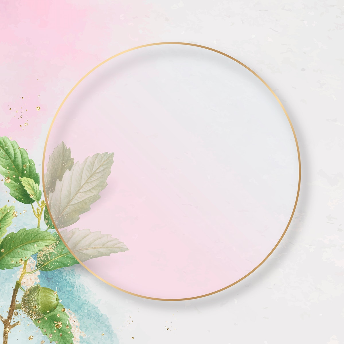 Hand drawn oak leaf pattern with round gold frame on pink background vector
