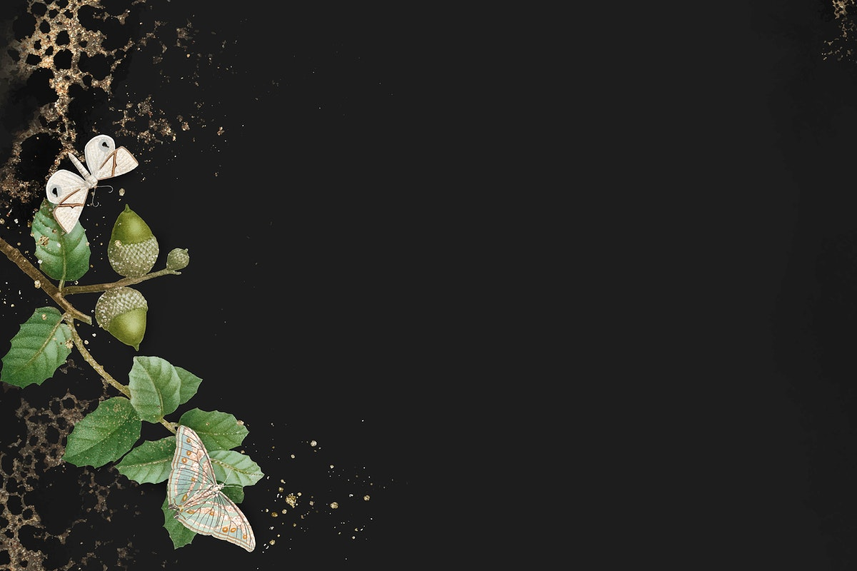 Hand drawn oak leaf pattern on black  background vector