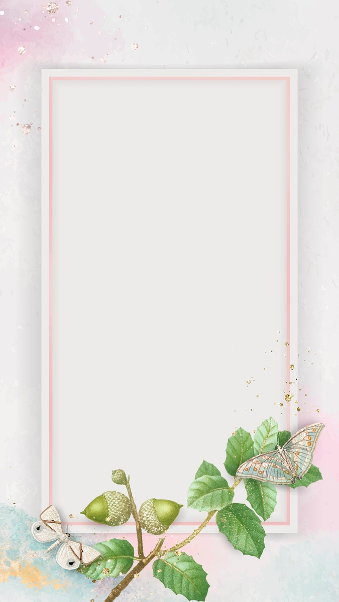 Oak leaves with rectangle pink frame mobile phone wallpaper vector