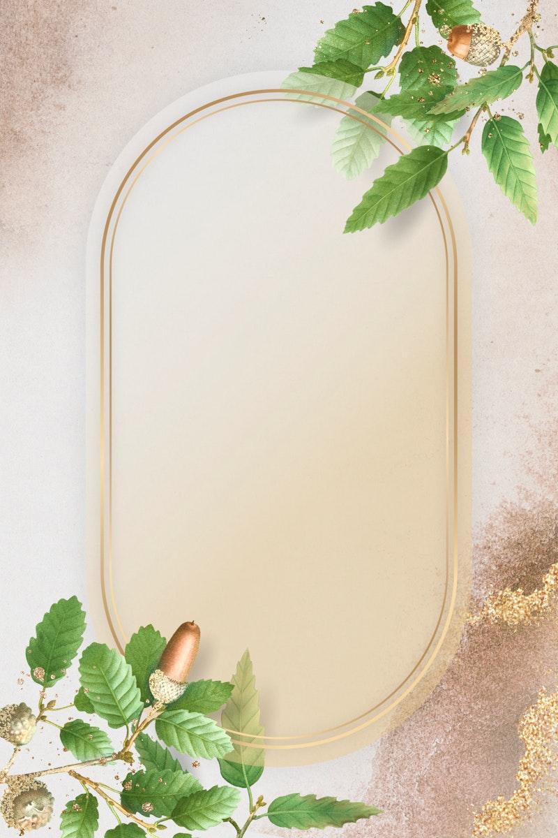 Hand drawn oak leaf pattern with oval gold frame on beige background illustration
