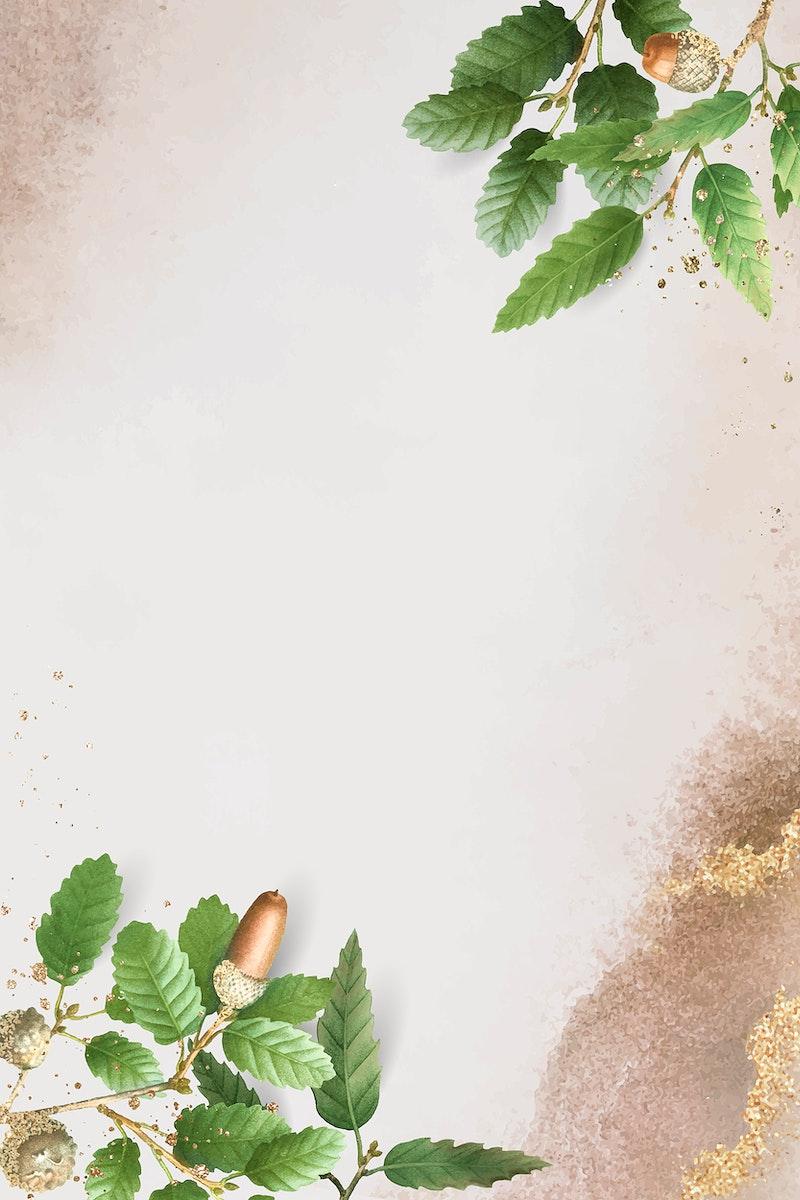 Hand drawn oak leaf pattern on beige background vector