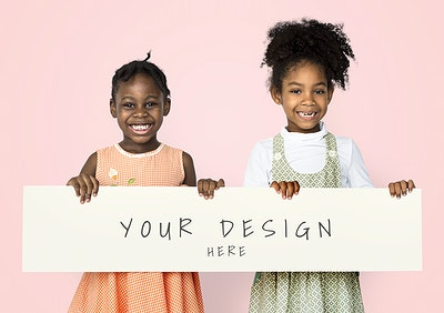 57a8ce3d1834 Cheerful little black girls holding a banner mockup