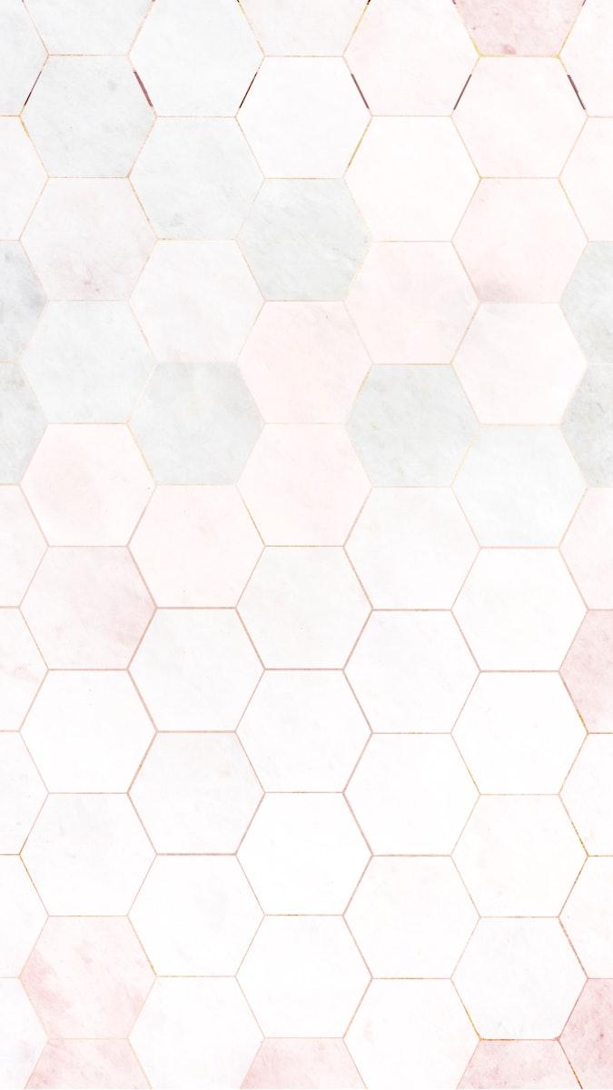 Hexagon pink marble tiles pattern mobile phone wallpaper